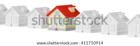 Uniqueness, individuality, real estate business creative concept - funny colorful unique house in row of gray ordinary houses, 3d illustration - stock photo