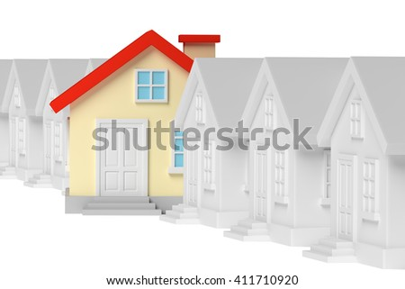 Uniqueness, individuality, real estate business creative concept - funny colorful unique house in row of gray ordinary houses standing out from gray and look at you, 3d illustration - stock photo