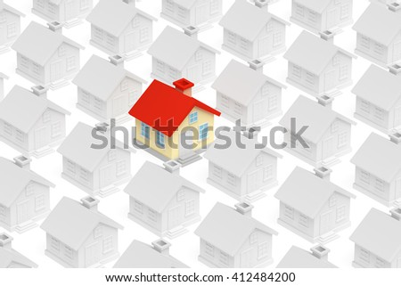 Uniqueness, individuality, real estate business creative concept - funny colorful unique house in row of gray ordinary houses stand out from crowd and look at you, 3d illustration - stock photo