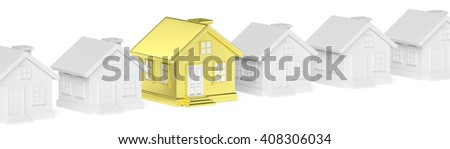 Uniqueness, individuality, real estate business creative concept - golden unique house in diagonal row of gray ordinary houses standing out from crowd and look at you - stock photo