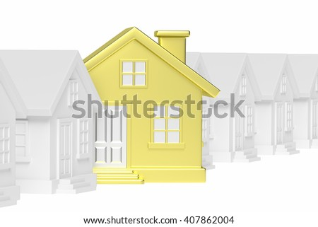 Uniqueness, individuality, real estate business creative concept - golden unique house in row of gray ordinary houses standing out from crowd and look at you - stock photo