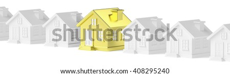 Uniqueness, individuality, real estate business creative concept - golden unique house standing in row of gray ordinary houses - stock photo