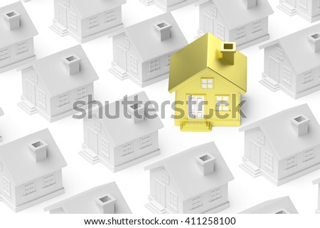 Uniqueness, individuality, real estate business creative concept - golden unique house standing out from crowd of gray ordinary houses and look at you, 3d illustration - stock photo
