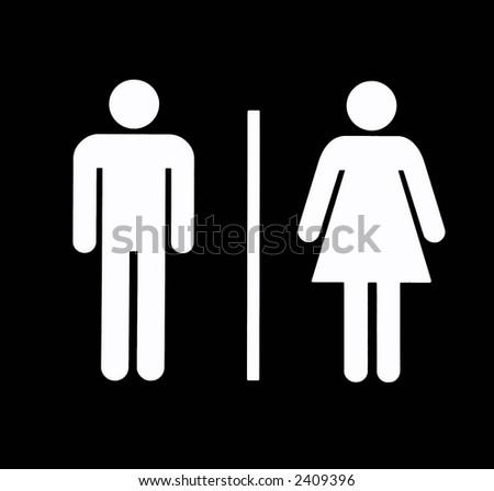 Unisex Bathroom / Restroom Symbol, White On Black, Background - stock photo