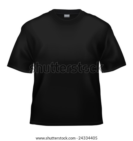 Unisex black T-shirt template (isolated on white, clipping path) - stock photo