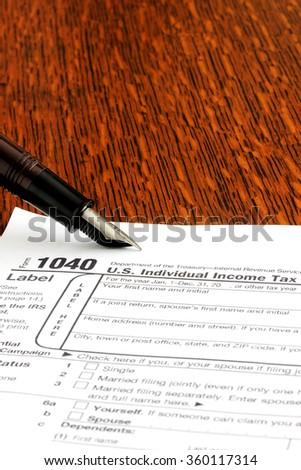 Unite States 1040 tax form - stock photo
