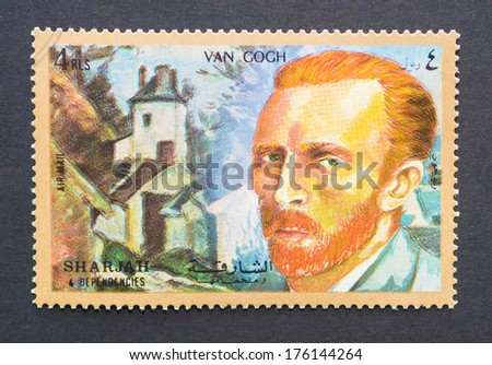 UNITED ARAB EMIRATES - CIRCA 1972: a postage stamp printed in UAB showing an image of Van Gogh, circa 1972.