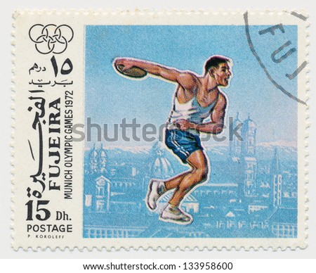 UNITED ARAB EMIRATES - CIRCA 1972: A stamp printed in Fujeira, shows Olympic Games in Munich in 1972, discus thrower, circa 1972