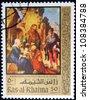 UNITED ARAB EMIRATES - CIRCA 1966: A stamp printed in United Arab Emirates shows Religious stories, circa 1966 - stock photo