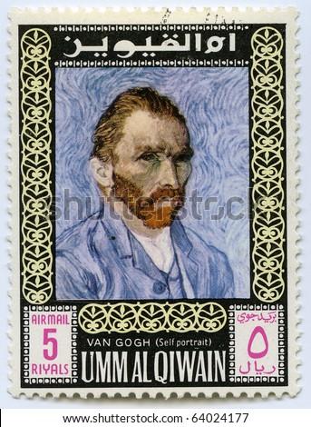 UNITED ARAB EMIRATES - CIRCA 1975: Postage stamps printed in United Arab Emirates shows self-portrait of the artist Van Gogh, circa 1975 - stock photo