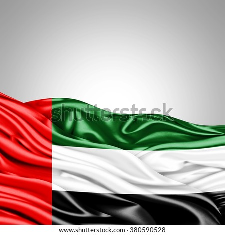 United arab emirates flag of silk with copyspace for your text or images and White background