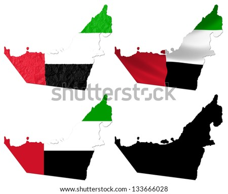 United Arab Emirates flag over map collage - stock photo