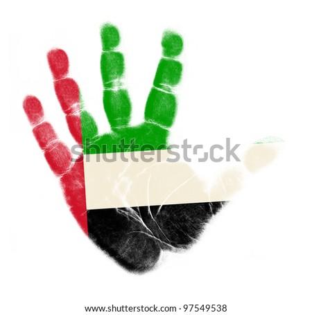 United Arab Emirates flag palm print isolated on white background - stock photo