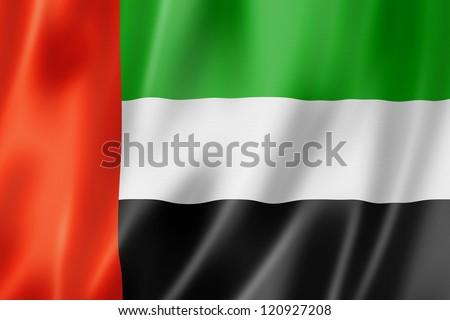 United Arab Emirates flag, three dimensional render, satin texture - stock photo