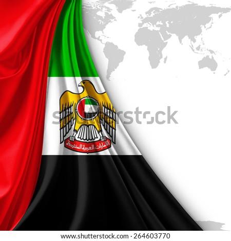 united arab emirates flag with coat of arm and world map background - stock photo
