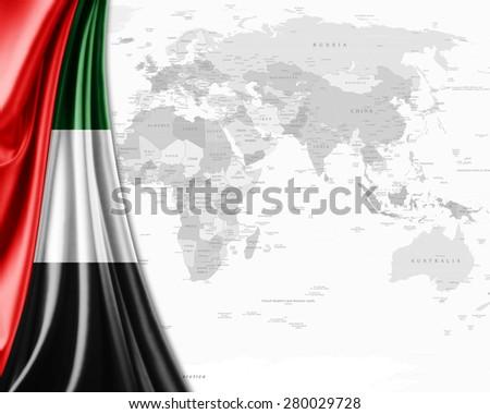 United Arab Emirates  flag,world map and white background - stock photo