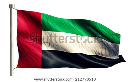 United Arab Emirates National Flag Isolated 3D White Background - stock photo