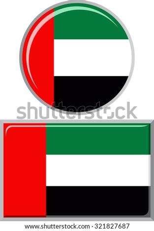United Arab Emirates round and square icon flag. Raster version.