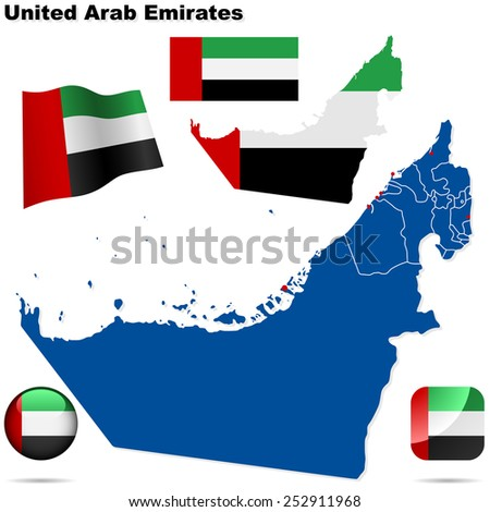 United Arab Emirates set. Detailed country shape with region borders, flags and icons isolated on white background. - stock photo