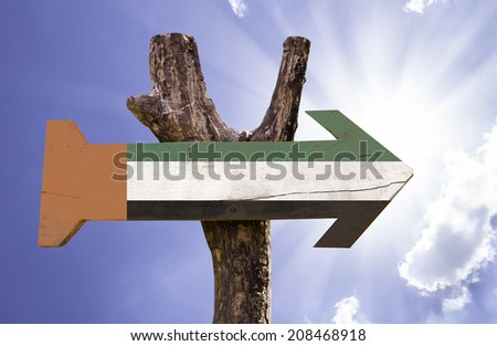 United Arab Emirates wooden sign on a beautiful day - stock photo