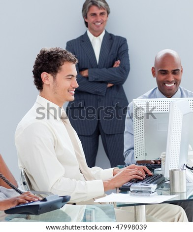 United business group working hard in the office in a company - stock photo
