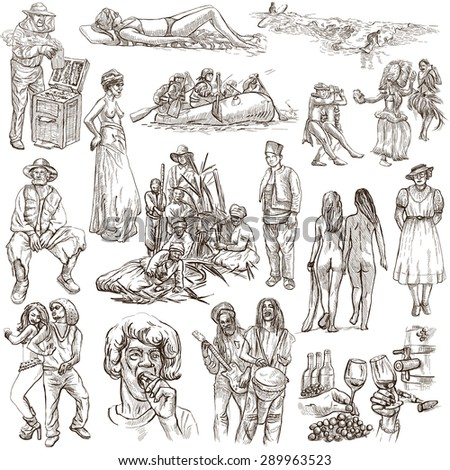 United Colors of Human Race, NATIVES - Collection (no.19). An hand drawn illustrations. Description: Full sized hand drawn illustrations, freehand sketching. Drawing on white background.