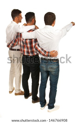 United friends of business men standing in embrace and pointing to white space in background