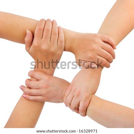 United hands isolated on white background