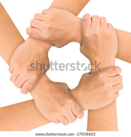 United hands isolated on white background - stock photo