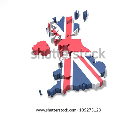 United Kingdom - Accurate 3D Map of the UK, isolated on white