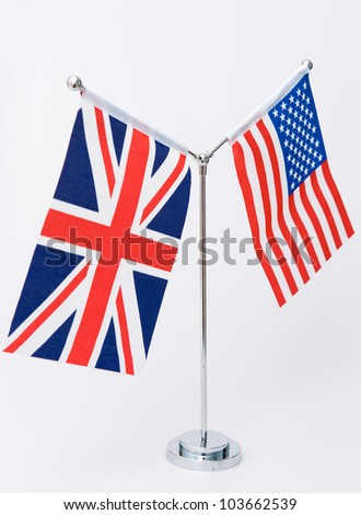 United Kingdom and american table flag isolated on white