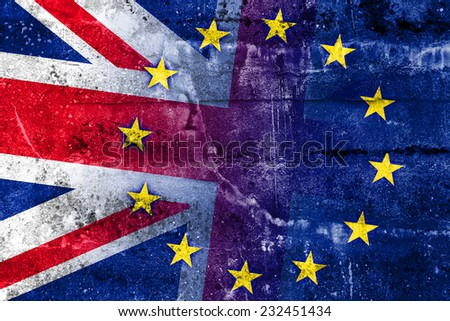 United Kingdom and European Union Flag painted on grunge wall