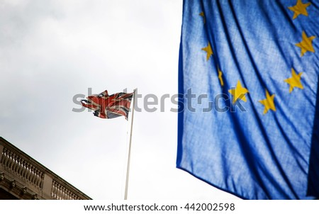 United Kingdom and European union flags combined - Focus on union jack flag as the UK votes for brexit