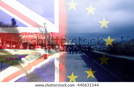 United Kingdom and European union flags combined for the 2016 referendum - city streets in the background