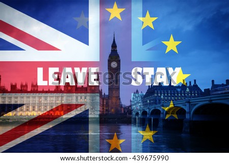 United Kingdom and European union flags combined for the 2016 referendum - Westminster and Big Ben in the background - stock photo