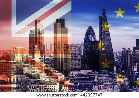 United Kingdom and European Union flags over the Bank District's Skyscrapers in London, England