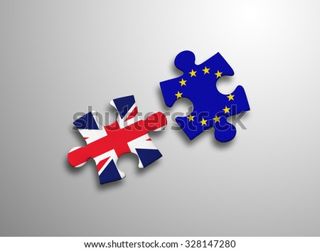 United Kingdom and European Union in puzzle isolated on white background. - stock photo