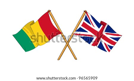 United Kingdom and Guinea alliance and friendship - stock photo