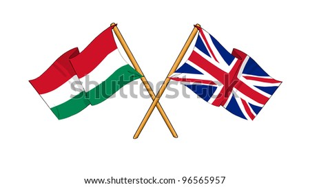 United Kingdom and Hungary alliance and friendship - stock photo