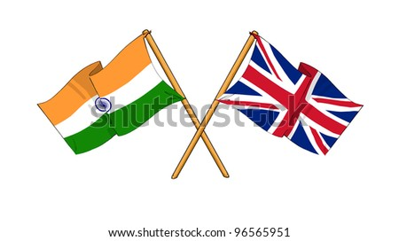 United Kingdom and India alliance and friendship - stock photo