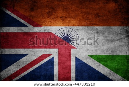 United Kingdom and India dark flag texture