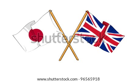 United Kingdom and Japan alliance and friendship - stock photo