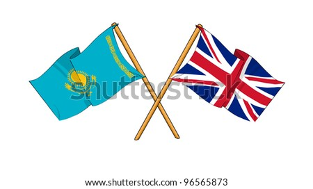 United Kingdom and Kazakhstan alliance and friendship - stock photo