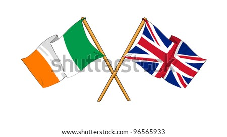 United Kingdom and Republic of Ireland alliance and friendship - stock photo