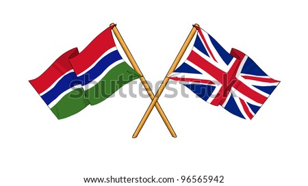 United Kingdom and The Gambia alliance and friendship - stock photo