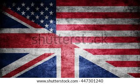United Kingdom and USA dark flag texture - stock photo