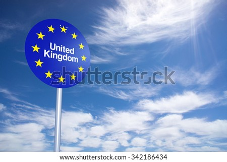 United Kingdom Border Sign with clouds sky. 3D Rendering - stock photo
