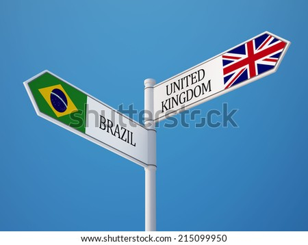 United Kingdom Brazil High Resolution Sign Flags Concept - stock photo