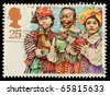 UNITED KINGDOM - CIRCA 1994: A British Used Christmas Postage Stamp showing Three Kings Nativity Scene, circa 1994 - stock photo