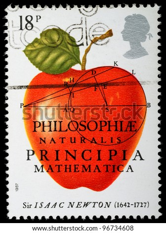 UNITED KINGDOM - CIRCA 1987 : A British Used Postage Stamp celebrating Sir Isaac Newton The Principia Mathematica, circa 1987 - stock photo